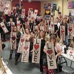 """""""The Love Sign"""" long canvas"""